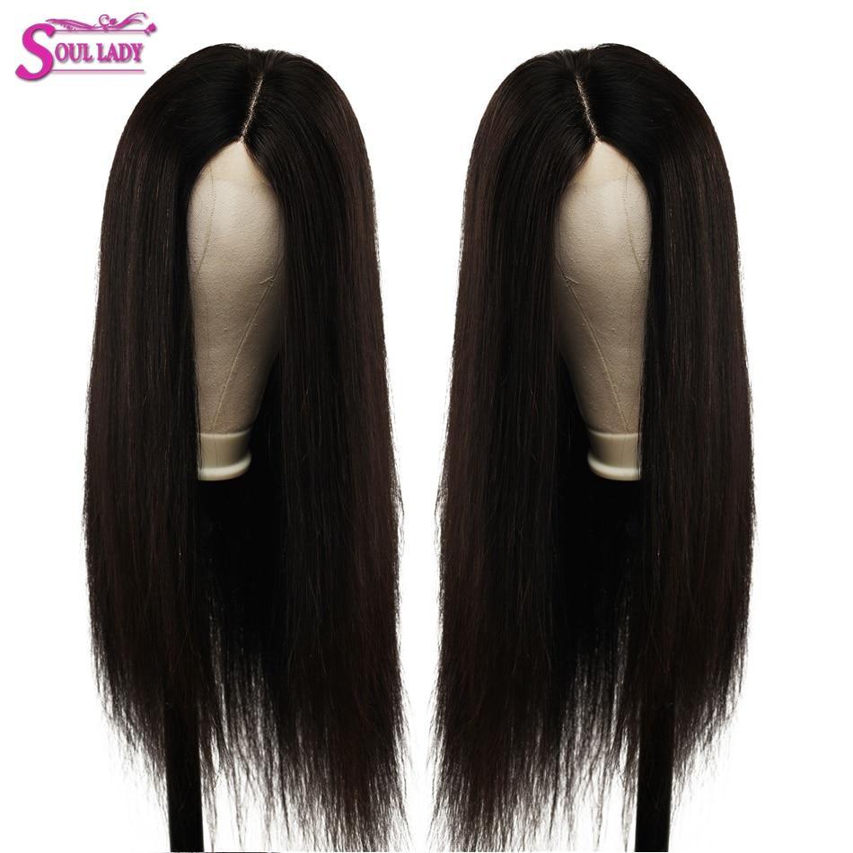 Soul Lady 13x6 Transparent dentelle perruque 100% cheveux humains pré plumé ligne de cheveux droite péruvienne dentelle avant perruque avec bébé cheveux Remy