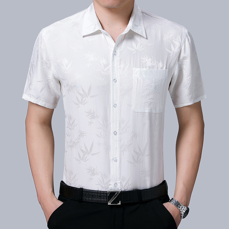 2020 New Summer 100% Silk Dress Men White Short Sleeve Shirt Shirt Formal Shirts For Men High Quality Gentlemen Camisas KJ1951
