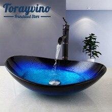 Смеситель для раковины Torayvino в ванную комнату, комбинированный набор, Овальный кран для раковины, носик, «Водопад», смеситель для горячей и холодной воды