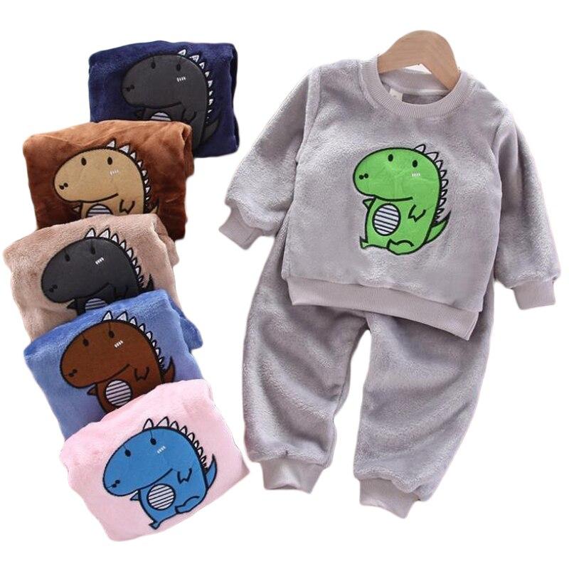 New Kids Flannel Pajama Sets Winter Christmas Pyjamas For Children Thick Warm Cartoon Sleepwear Girls Boy Casual Home Suit1-6Y 1