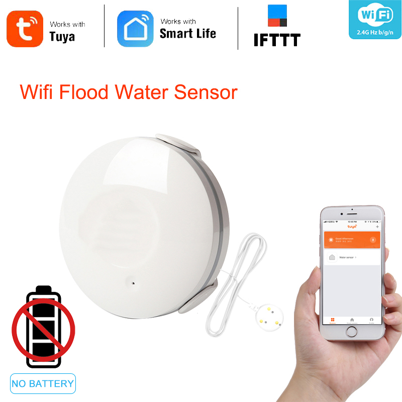 WIFI Water Sensor Liquid Level Alarm Detector Water Tank Overflow Protection Application Tuya Smart Home Life Remote Control