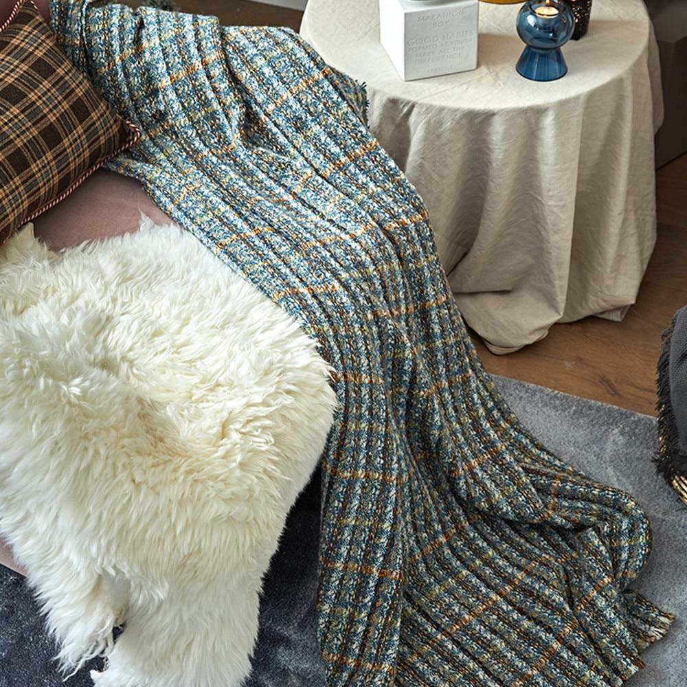 Wool throw blanket travel picnic bedding blanket modern - 3