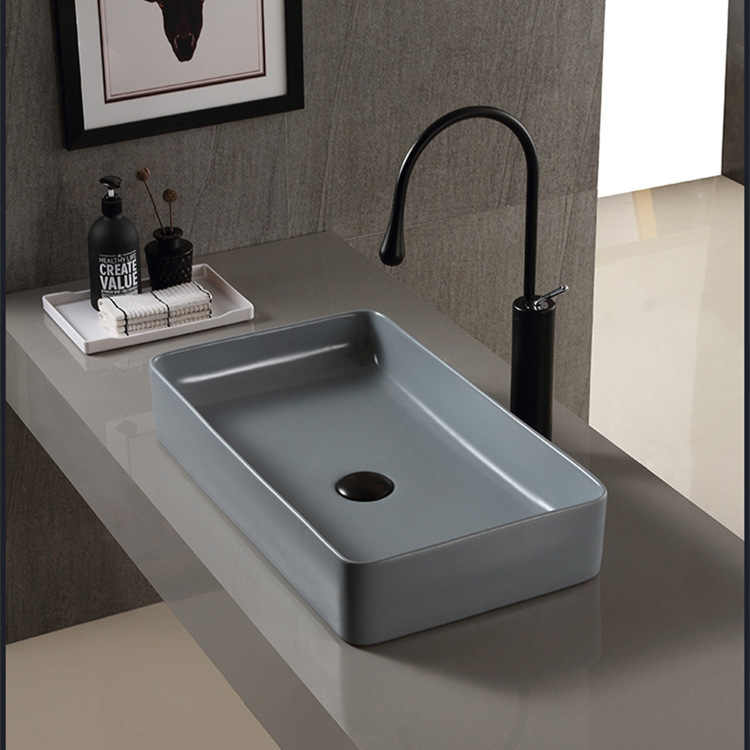 Nordic Ceramic Washbasin Square Basin Simple Grey Bathroom European Art Washbasin Home Basin Without Taps Sink Basins Set Bathroom Sinks Aliexpress
