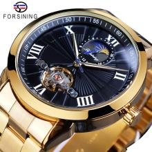 Forsining Men Stainless Steel Tourbillion Design Black Moon Phase Dial Mens Automatic Mechanical Wrist Watches Top Brand Luxury