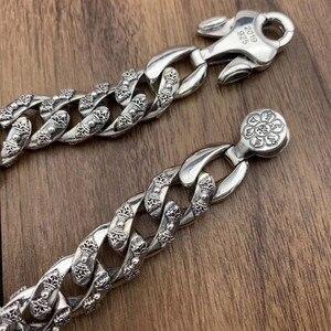 Image 3 - 925 srebro biżuteria bransoletka dla kobiet mężczyzn Vintage szerokość 14mm stałe Thai srebrny Mantra Charms Leathe bransoletki i Bangles