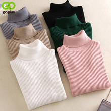 GOPLUS 2019 Autumn Winter Turtleneck Womens Knitted Sweater Pink Long Sleeve Sweaters Korean style Pullovers Clothing
