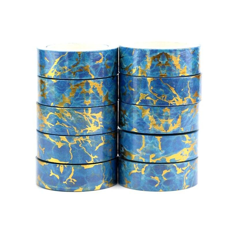 10pcs/lot Decorative Blue Marble Foil Washi Tapes DIY Scrapbooking Planner Adhesive Masking Tapes Kawaii Stationery