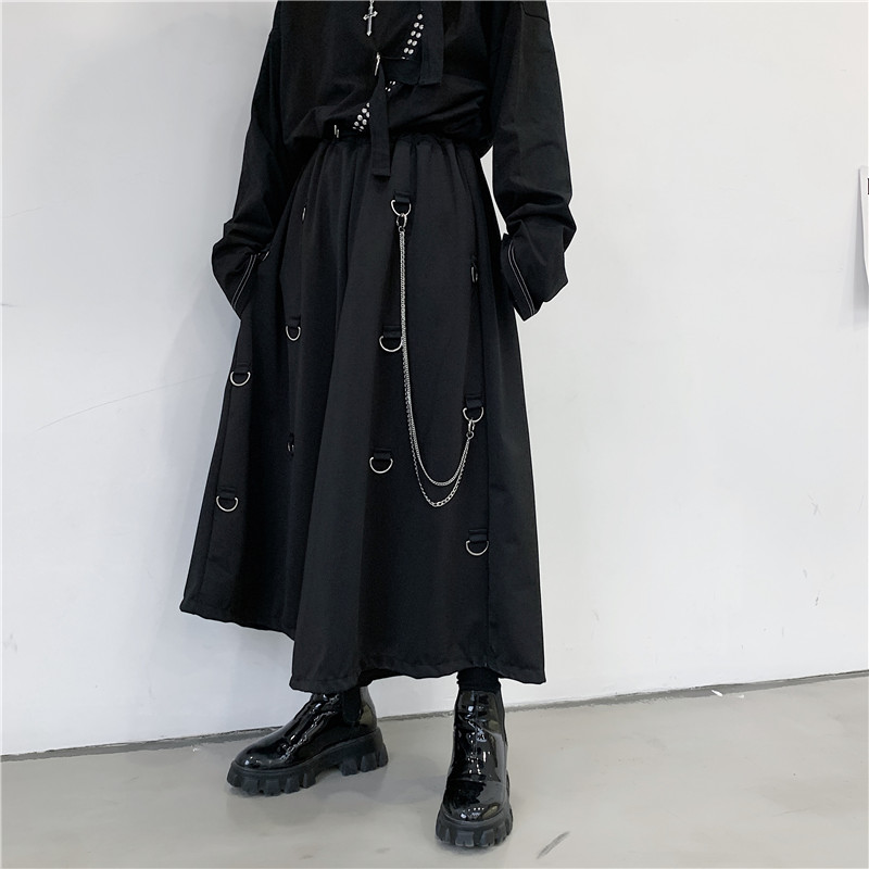 Men Metal Chain Causal Loose Casual Wide Leg Pant Male Japan Style Streetwear Gothic Punk Kimono Skirt Pants