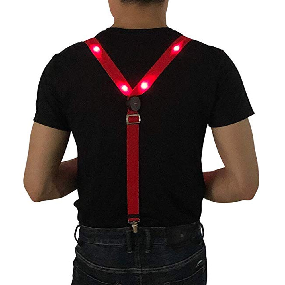 LED Glow Light Up Suspenders Adjustable Elastic Outdoor Sports Warning Chest Strap EIG88