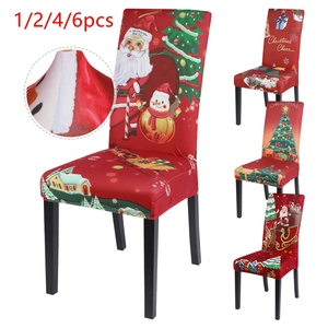1/2/4/6pcs Xmas Elastic Dining Room Seat Chair Covers Christmas Chair Cover Stretch Slipcovers For Banquet Party Decor