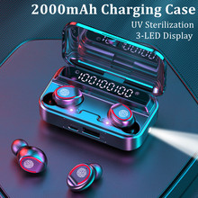 Bluetooth 5.1 Earphone Wireless Headphones 2000mAh Charging Case LED 9D Stereo Noise Canceling Earbuds With Mic Fashlight UV