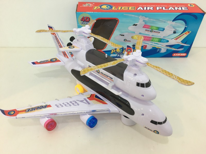 Children Electric Double Layer Music 3D Light Airplane Transport Stall Hot Selling Universal Plane Toy