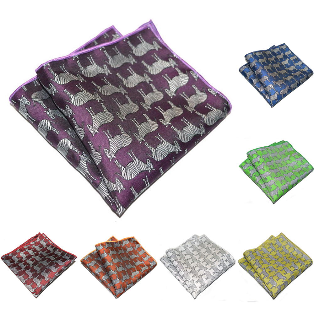 Mens Handkerchief Hanky Stylish Zebra Pattern Hanky Pocket Square Wedding Party