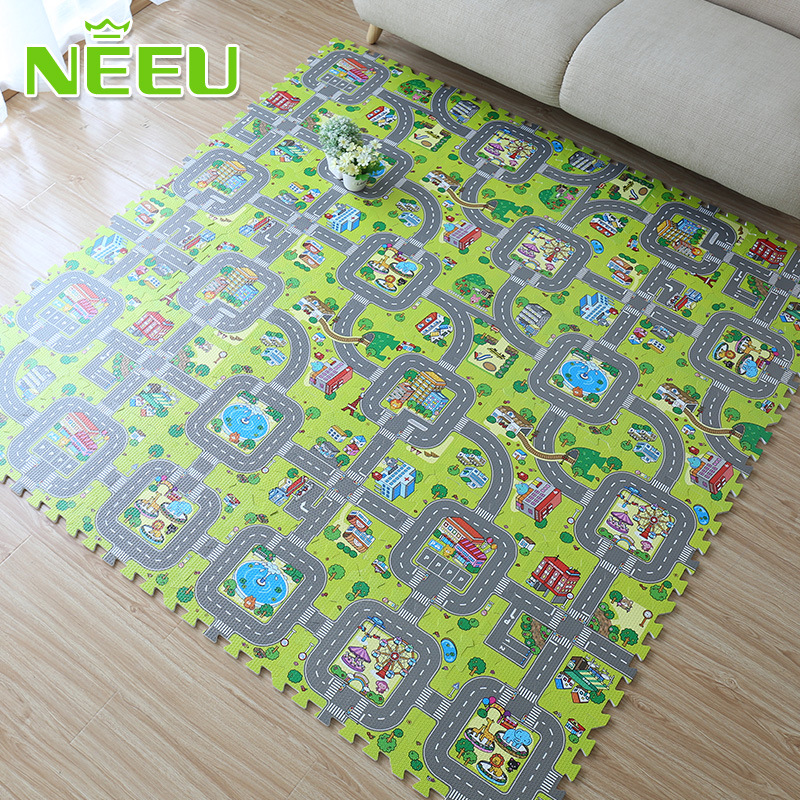 Baby EVA Foam Puzzle Play Floor Mat City Road Education Carpets Interlocking Tiles Kids Traffic Route Ground Pad (No Edge) NEEU