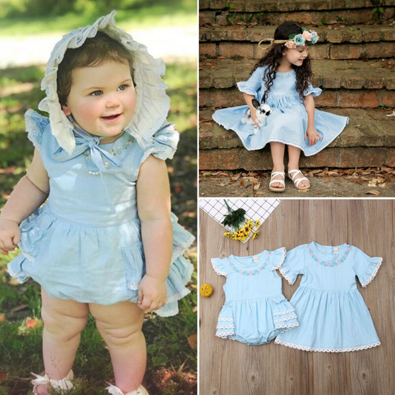 Efaster Summer Baby Kids Girls Dress Floral Lace Backless Sundress Outfits Clothes