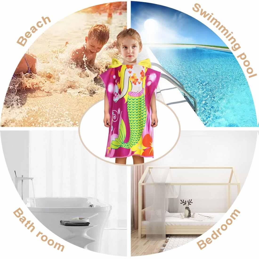 Toalla de baño con capucha para bebés Poncho niños Albornoz toallas de baño bata de baño absorbente de microfibra de viaje Toalla de playa deportiva