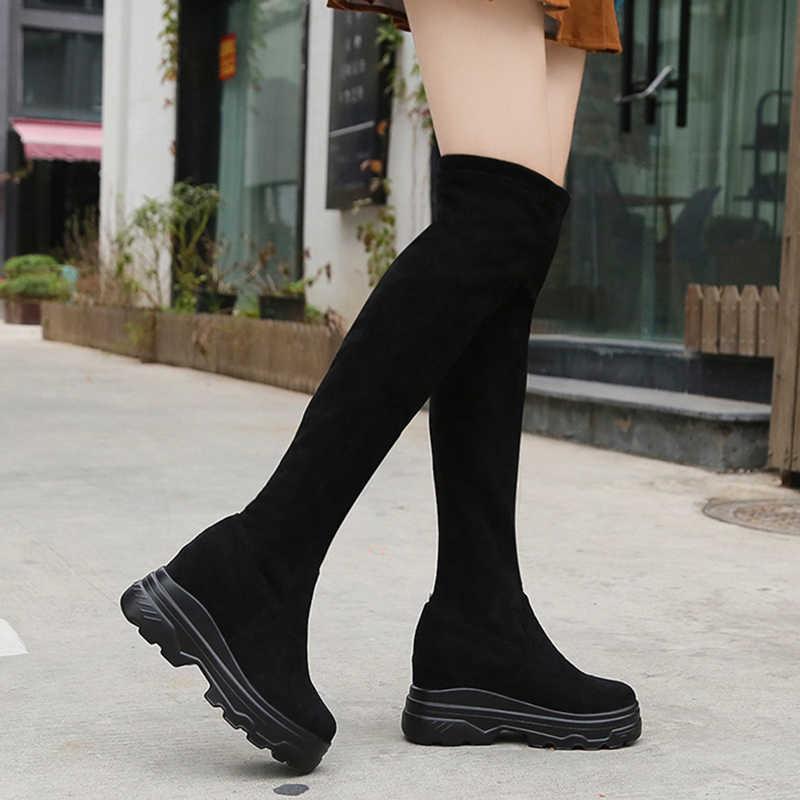 Lucyever caché talons Slim longues bottes femmes sans lacet Chunky plate-forme chaussures femme automne hiver Wedge sur le genou bottes femme