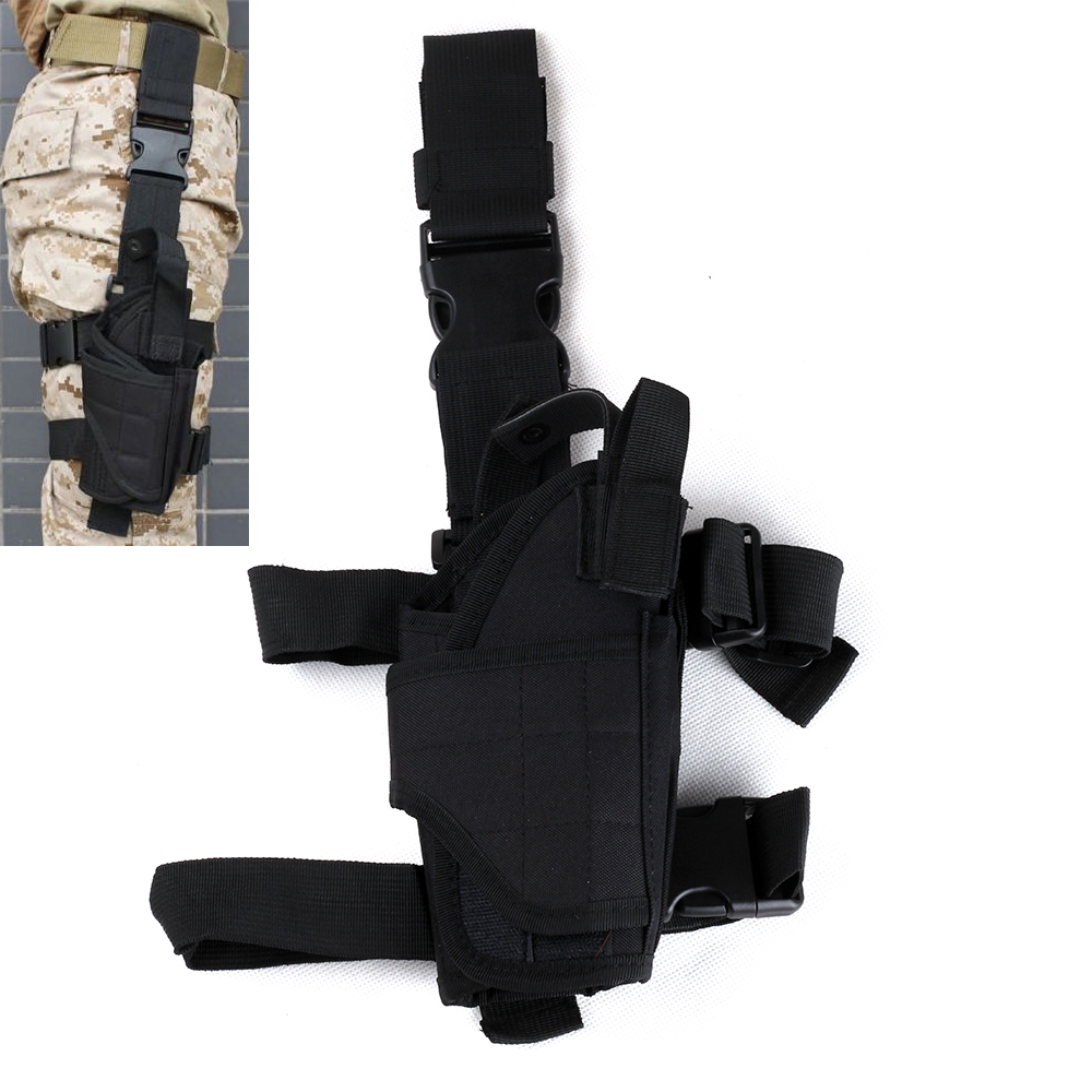 Weapon Hunting Adjustable Tactical Pistol Gun Drop Leg Thigh Holster Pouch Holder With Mag Pouch Right Hand Black image