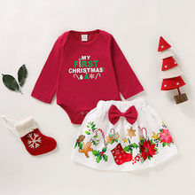 Christmas Outfit Toddler Girl Clothes Cotton Letter Print Romper Bodysuit+Cartoon Skirts Kids Winter Clothes roupa infantil(China)