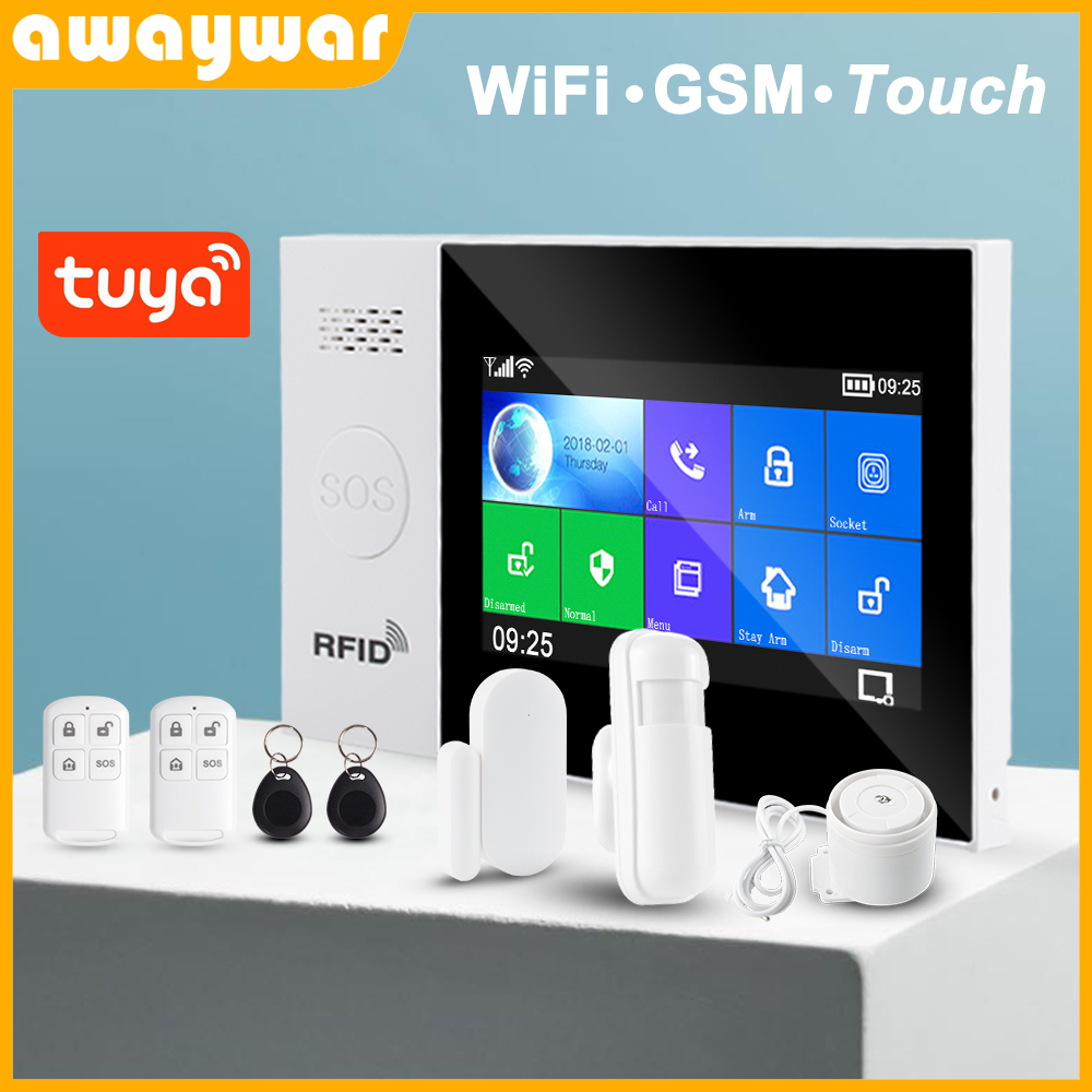 Awaywar Tuya WIFI GSM Home Security Smart Alarm System  Burglar Kit  Touch Screen Tuya APP Remote Control RFID Arm Disarm