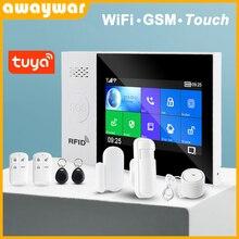 Awaywar Tuya WIFI GSM אבטחת בית חכם מעורר מערכת פורץ ערכת מגע מסך תואם עם Tuya IP Camrea