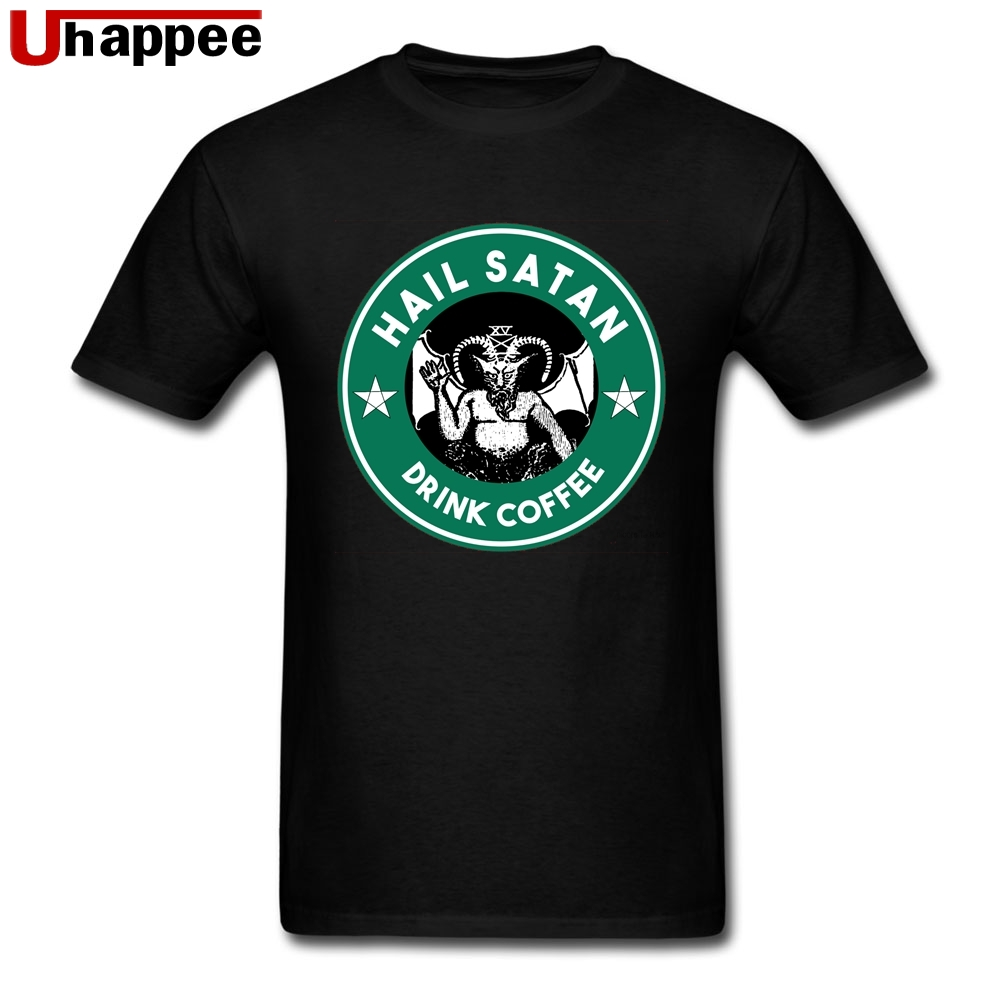 Branded Design T-Shirts Hail Satan Drink Coffee Homme Slim Fitting Short Sleeves Color Printing T-Shirt Men Extra Large Apparel