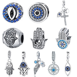 BISAER 925 Sterling Silver Charm Blue Eye Lucky Fatima Hand Hamsa Hand Eye Pendant Charm Fit PAN Charm Bracelet DIY Jewelry(China)