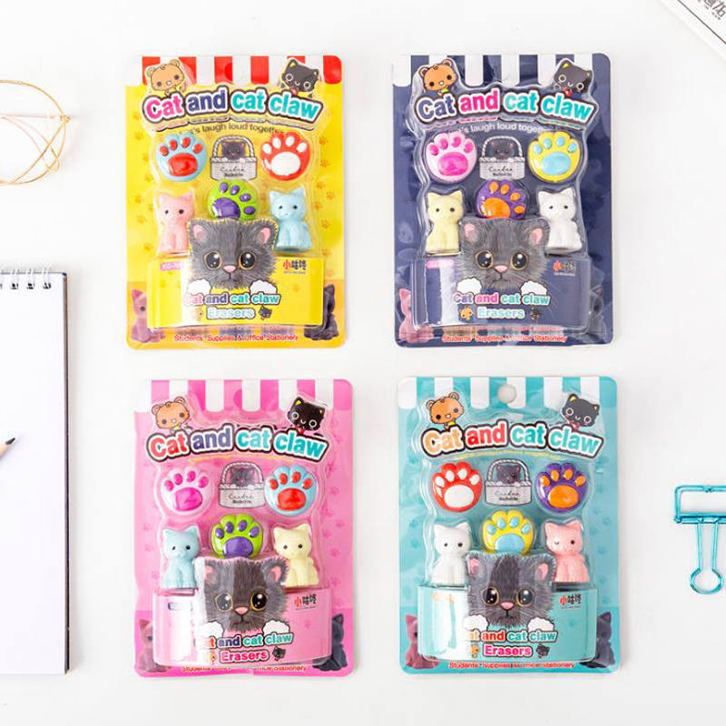 1 Pack Cartoon Mini Animal Cat Claw Paw Rubber Pencil Erasers School Student Sketch Drawing Eraser Stationery Gifts