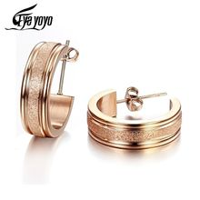 EyeYoYo Brushed Hoop Earrings For Women Stainless Steel Rose Gold Ear Jewelry