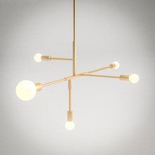 Nordic Pendant light 5Head Gold Modern Cross Style Pendant lamp E27 LED Light Bulb Hanging lamp Home Decoration lighting lampara