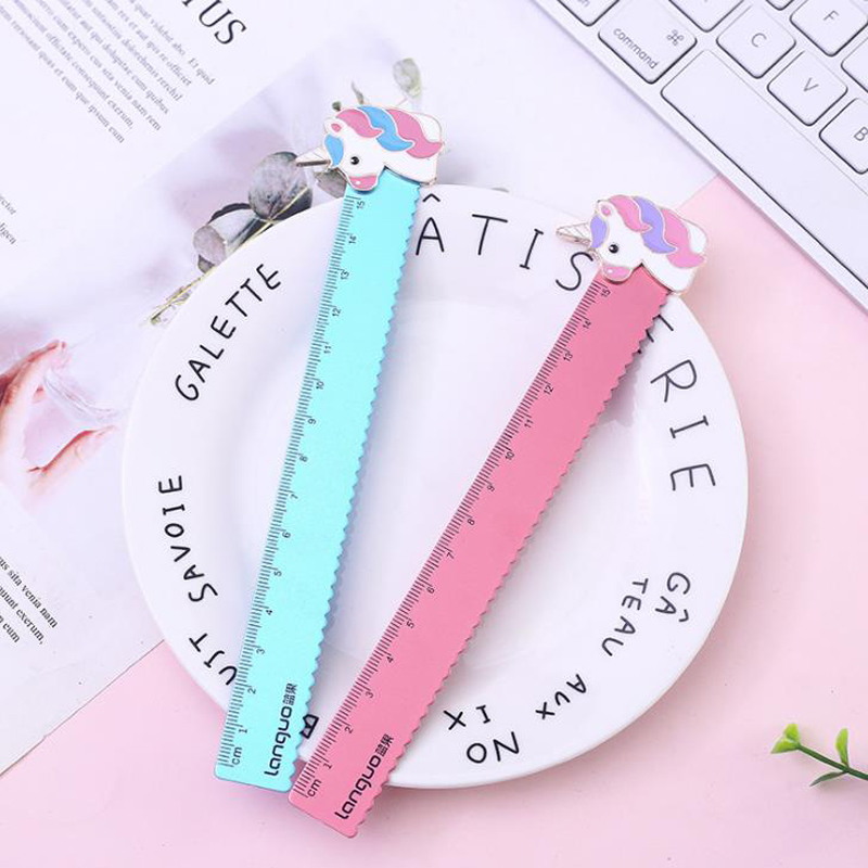 1 Pcs Cute Animal Unicorn Pig 15cm Straight Rulers Metal Bookmark Measuring Ruler Painting Learning School Stationery Gift