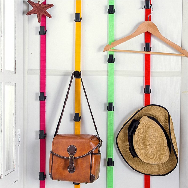 New Adjustable Straps Hat Bag Coat Clothes Rack Organizer Storage Holders Hanger Over The Door Kitchen Cabinet Storage Rack