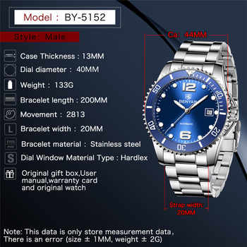 BEYANR Mechanical Watch Men Automatic Military Waterproof Mens Watches Top Brand Luxury Stainless Steel Clock Relogio Masculino