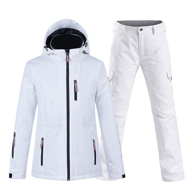 New Pure Color White Womens Snow Suit Wear Snowboard Clothing Set 10k Waterproof Windproof Winter Costume Ski Jacket + Snow Pant