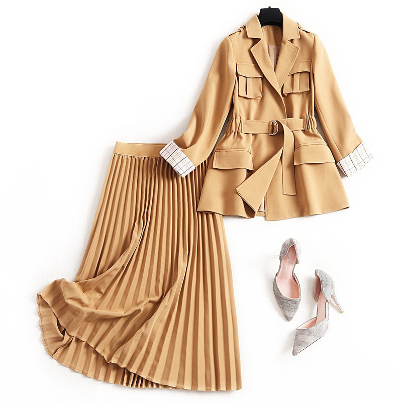 Women fashion 2020 spring pleated skirt suit khaki sashes vintage military jacket + long skirts office two piece outfit