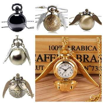 Retro Steampunk Smooth Snitch Ball Shaped Quartz Pocket Watch Fashion Sweater Angel Wings Necklace Chain Gifts For Men Women Kid