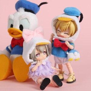 Image 3 - 新 3 個 = シャツ + 下着 + 帽子アヒル衣装洋服人形 ob11 、 obitsu11 、モリー、 1/12bjd 人形の服アクセサリー