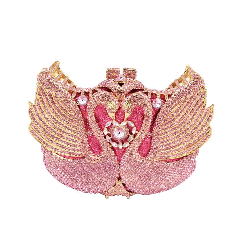Fashion Crystal Metal Pink 3D Swan Women Evening Bags Clutch Wedding Party Handbags Cocktail Prom party Ladies Purse and bag