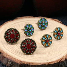 Naomy&ZP 3 Pairs/Set Stud Earrings For Women Bohemian Boho Earrings Ethnic Fashion Jewelry Accessories Girl Gifts Punk Vintage(China)