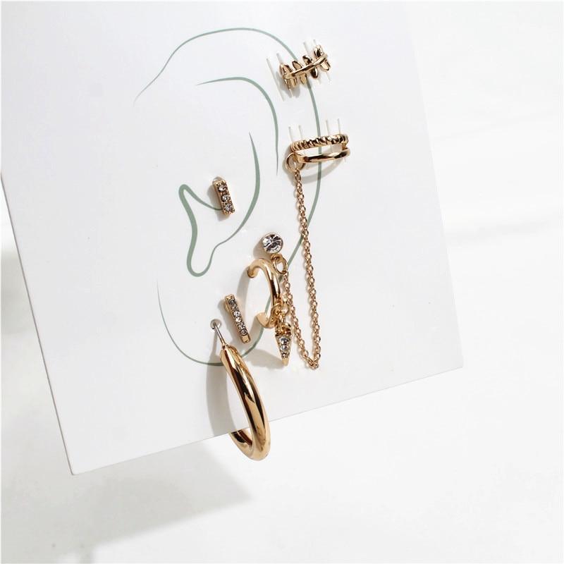 Fashion 6PCS/SET Mixed Ear Post Cuff Clip On Earrings Fake Cartilage Earring for Women Men Clip Earrings No Pierced Ear C Shape