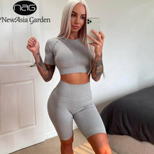 NewAsia Ribbed Knitted Bodycon Two Piece Set Leisure Sports Suit Women Crop