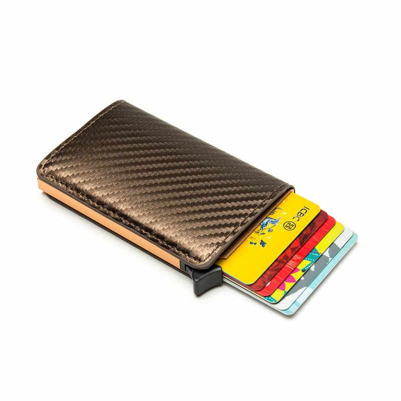 Bisi Goro Carbon Fiber Protector Credit Kaarthouder 2020 Nieuwe Pu Lederen Tarjetero Hombre Rfid Enkele Doos Wallet Slim Card case