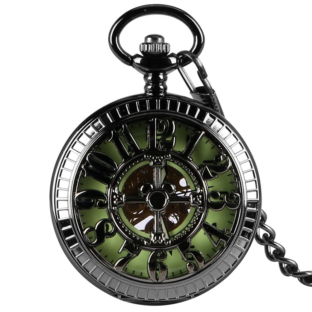 Hollow-out Case Pocket Watch Practical Roman Numerals Hand-winding Mechanical Pocket Watches Pointers Pendant Watch