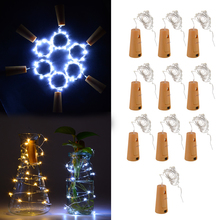 10pcs/lot 20LED Garland Wine Bottle Lights Battery Cork Fairy String Light Christmas Wire Starry