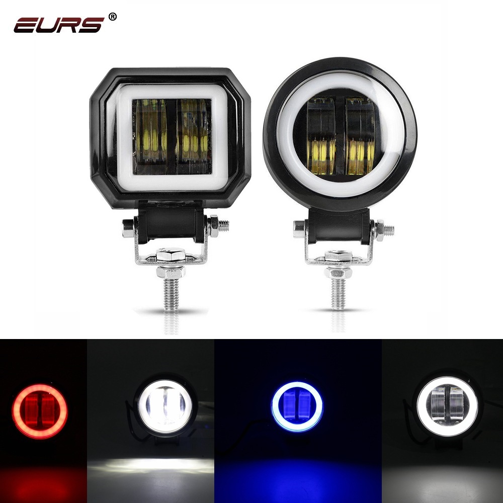 20W <font><b>LED</b></font> 2000lm Motorcycle <font><b>led</b></font> Headlight Car Fog Lamp Work light Auto spot light angel eyes Ring Motors DC <font><b>12</b></font>-<font><b>80V</b></font> image