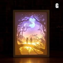 ثلاثية الأبعاد ورقة نحت أضواء ليلية LED الجدول مصباح غرفة نوم السرير عيد الميلاد هالوين منحوتة مصباح ديكور هدايا عيد WWO