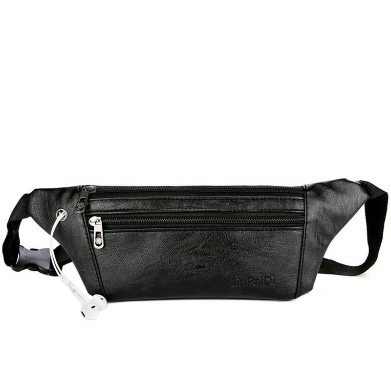 Holographic Fanny Packwaist Pack Men Casual Small  Black PU Leather  Bag With Phone Pocket  Belt   Fanny
