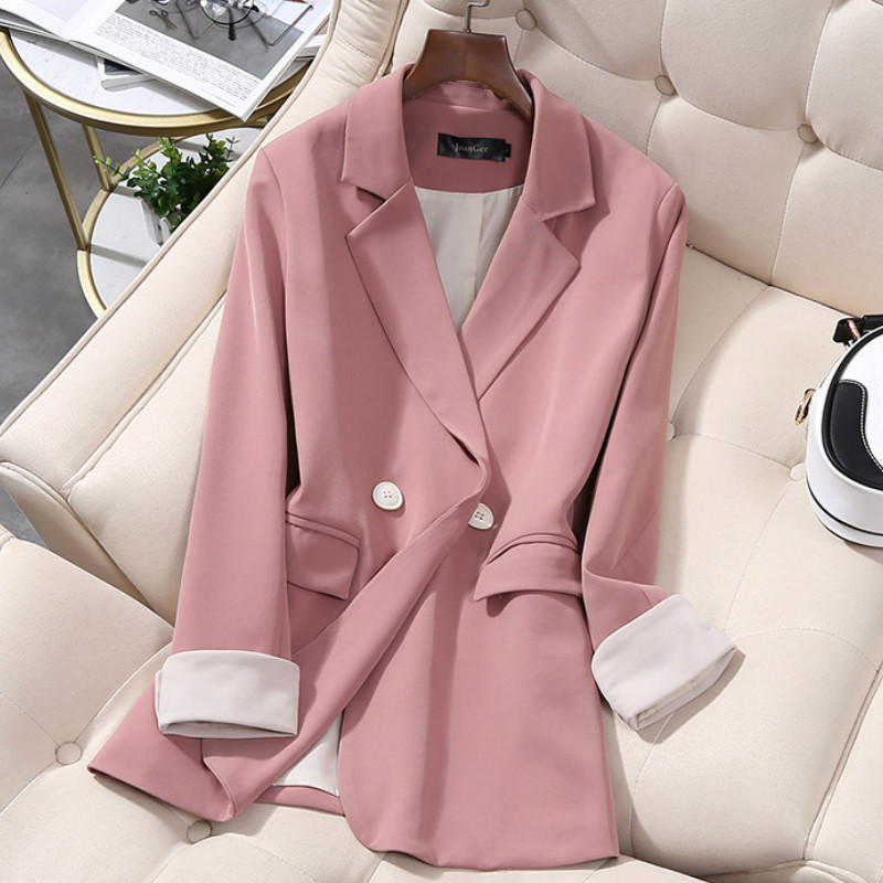 Casual ladies pink blazer 2020 new high-quality jackets feminine Mid-length loose office small suit Elegant coat Plus size M-5XL