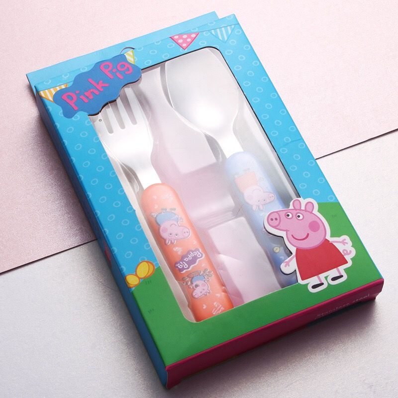 Brand New Authentic Peppa Pig Daily Dining Spoon Fork Children Tableware Cute Cartoon Model Grip Spoon Set Kids Christmas Gifts