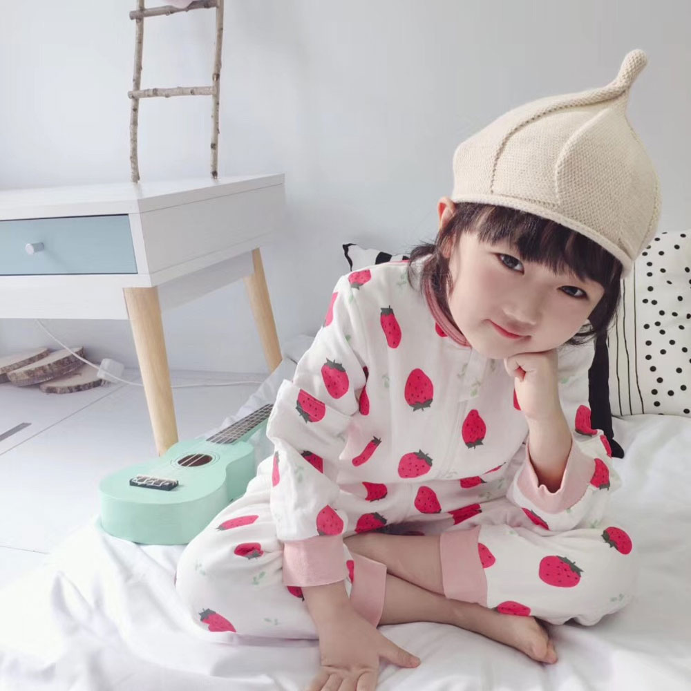 Baby Sleeping Bag Spring Summer Boys Girls Sleeping Bags Thin Cotton Gauze Long Sleeve Baby Split Leg Sleepsack Fruit Pattern